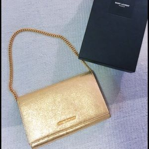 Pristine! Yves Saint Laurent medium clutch w chain